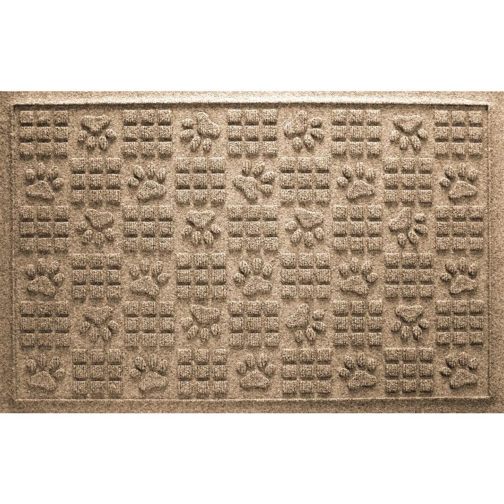 Khaki 24 in. x 36 in. Dog Paw Squares Pet Mat