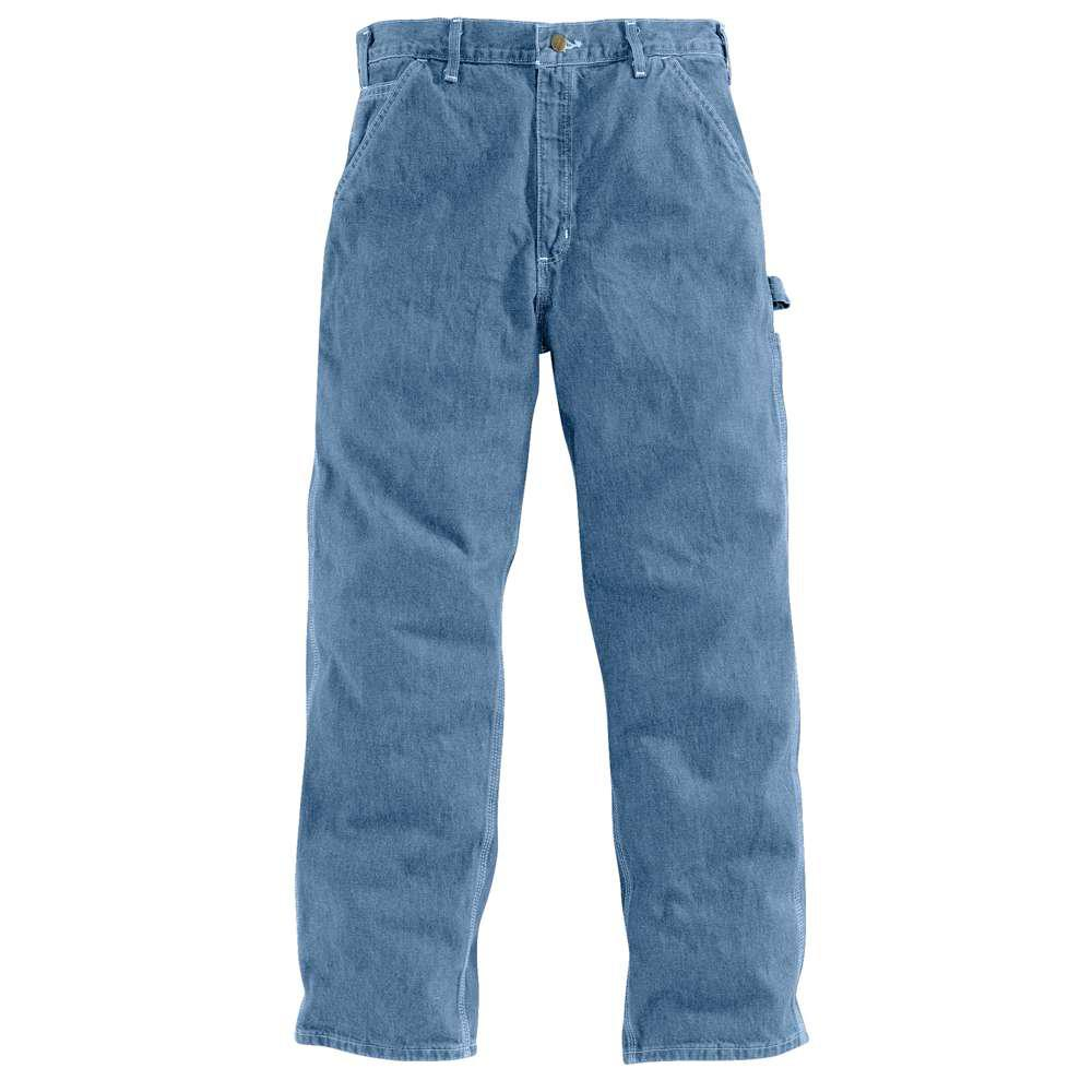 03832b08b2d Carhartt Men's 48x32 Stonewash Cotton Straight Leg Denim Bottoms-B13 ...