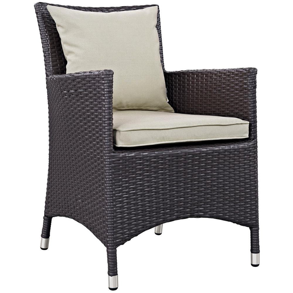 Convene Wicker Outdoor Patio Dining Chair in Espresso with Beige Cushions