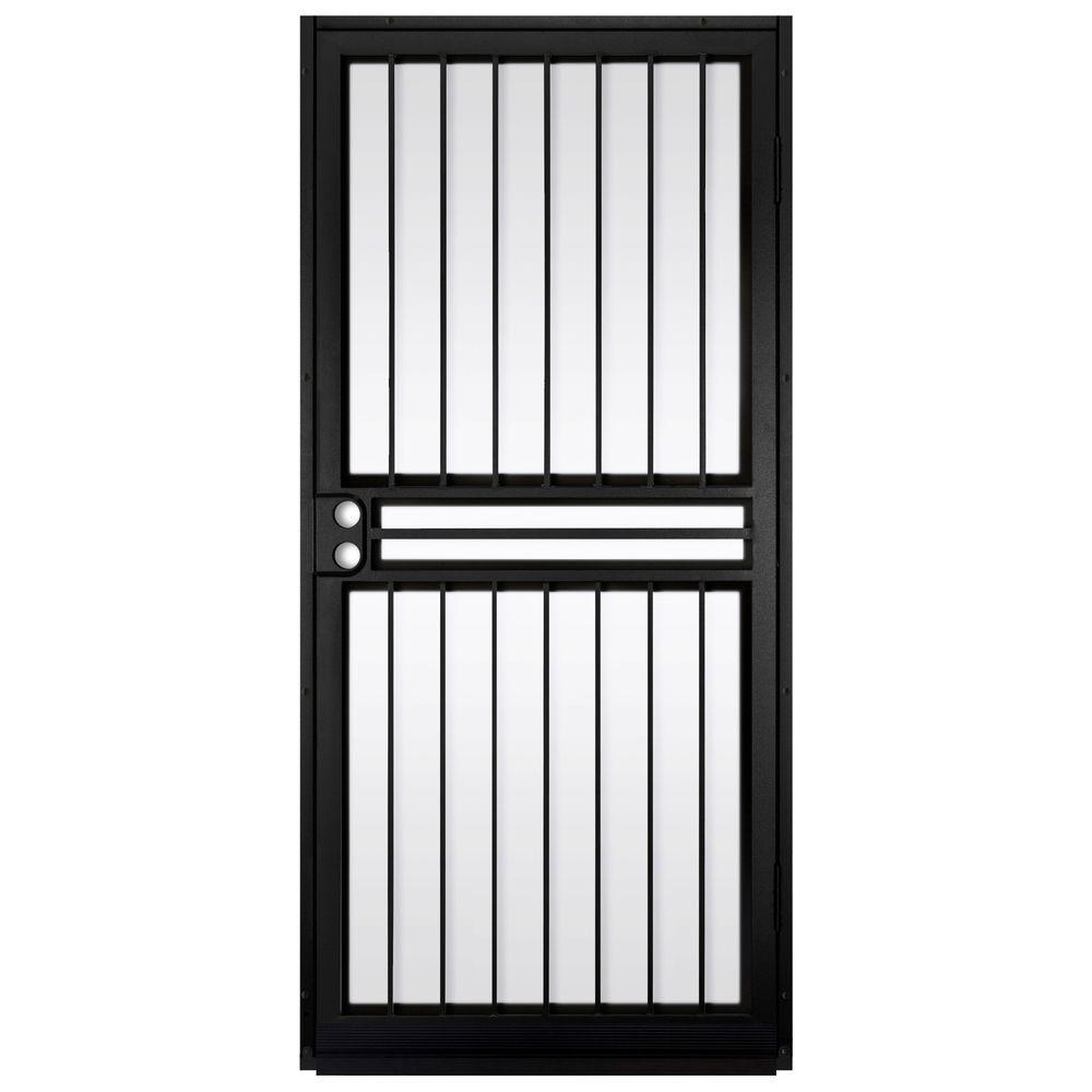 Unique Home Designs 36 In  X 80 Guardian Black Surface Mount Outswing Steel