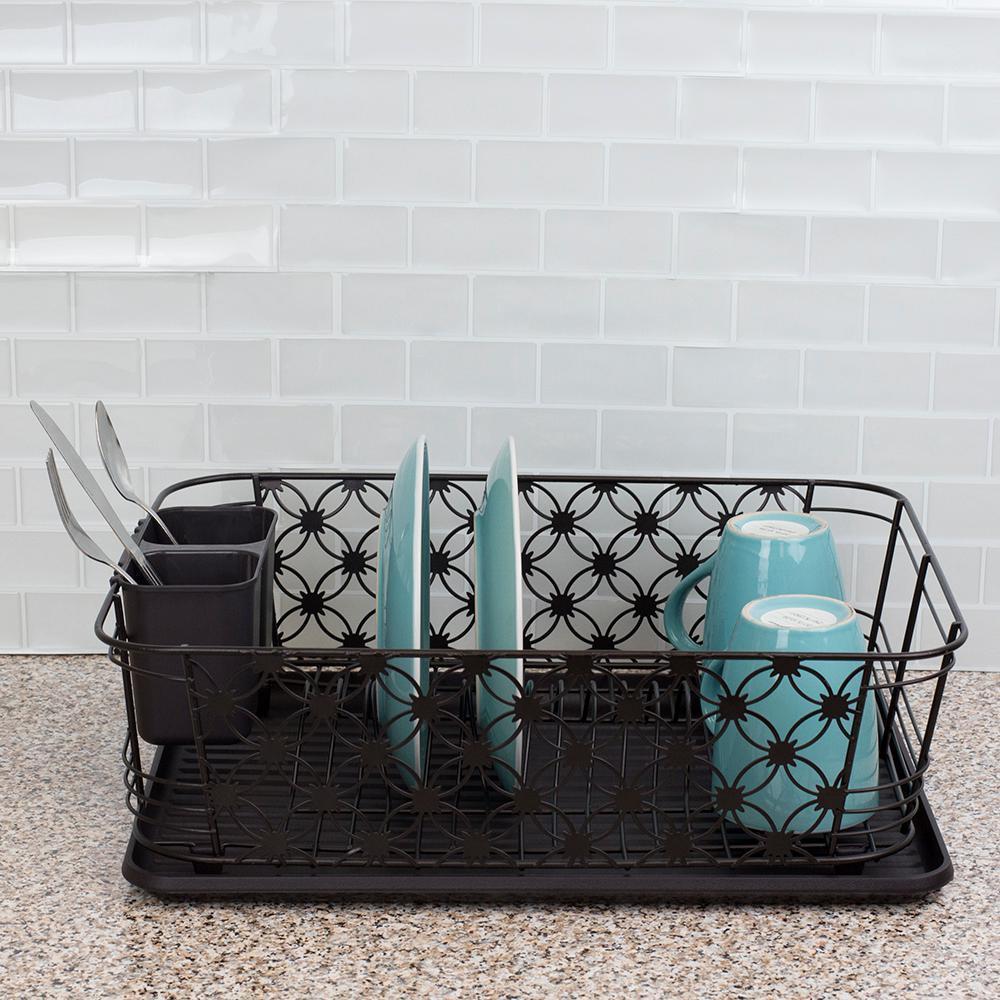 Home Basics 3 Piece Black Decorative Wire Dish Rack Dd47838 The