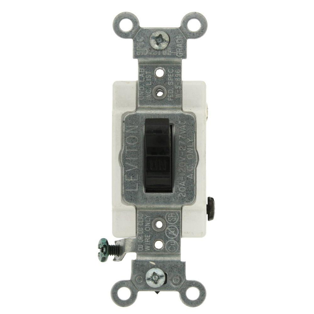 Leviton 20 Amp Commercial Grade Double-Pole Toggle Switch, Black ...