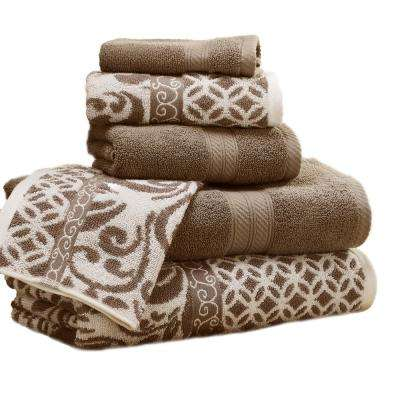 Trefoil Filigree 6-Piece Cotton Bath Towel Set in Mocha