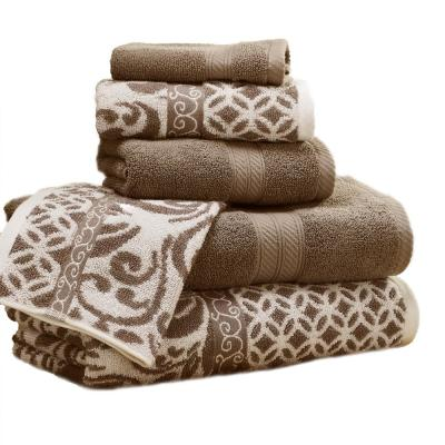 Trefoil 6-Piece Mocha Geometric Bath Towel Set