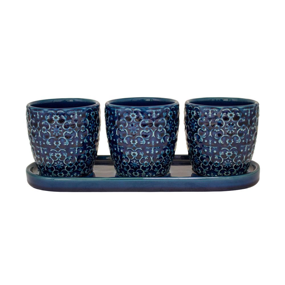 Trendspot 12 in. D Blue Ceramic Mediterranean Bell Trio Planter