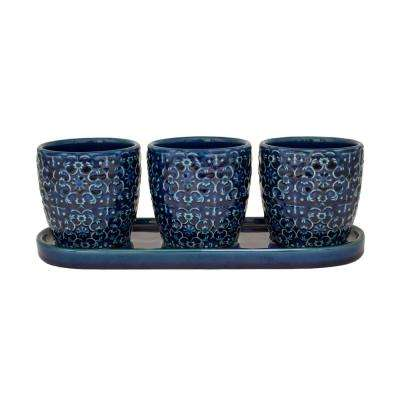 12 in. Blue Mediterranean Bell Ceramic Trio Planter