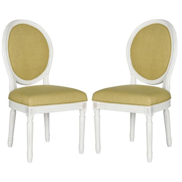 Safavieh Holloway Oval Linen Chair in Spring Green and Cream Finish (2-Pack)
