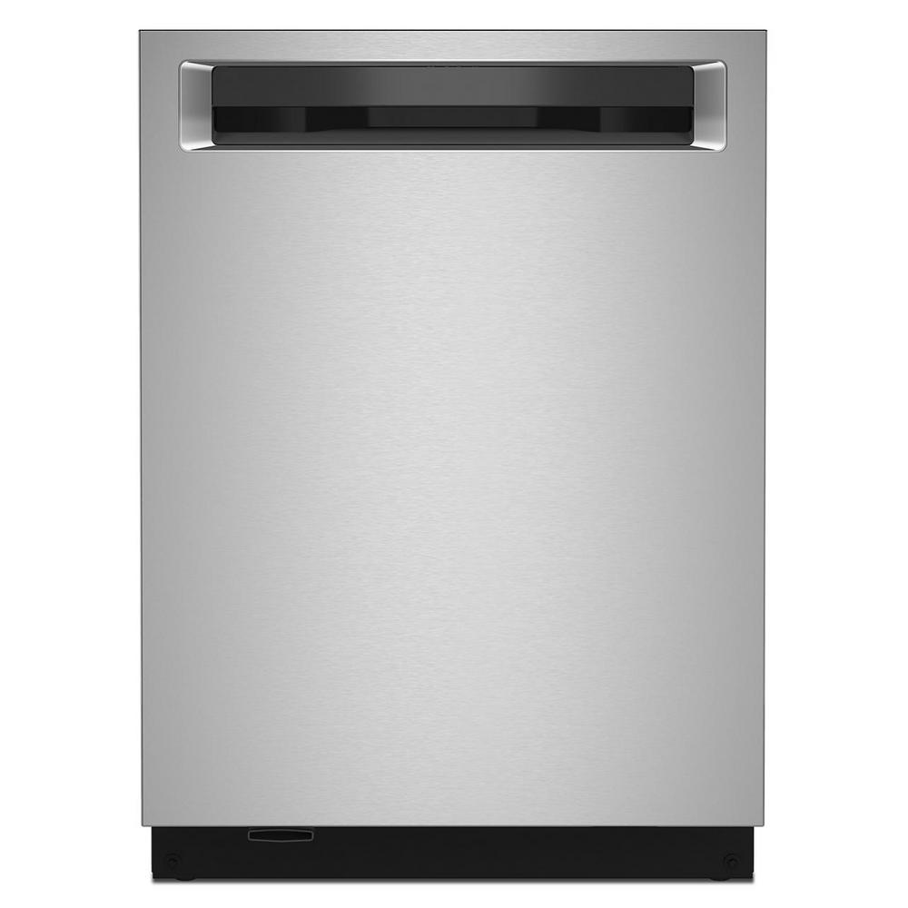 KitchenAid 24 in. Top Control Built-in Tall Tub Dishwasher in PrintShield Stainless with Stainless Steel Tub and Third Level Rack