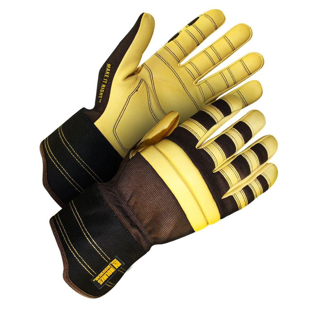 Holmes Workwear Large Brown Modified Fitter Gloves with Yellow Goatskin