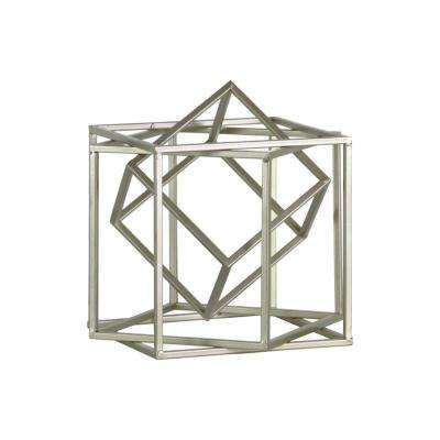 Silver Metal Cube Abstract Sculpture