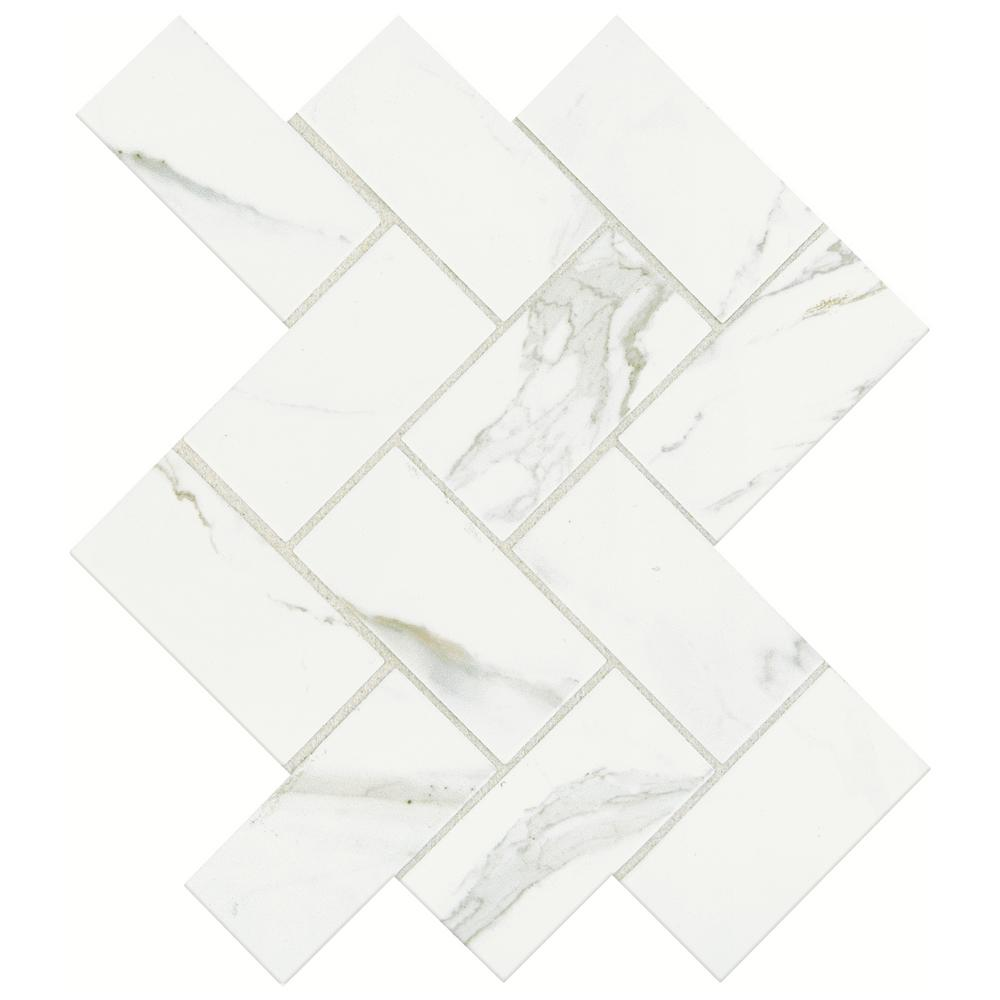 Ceramic mosaic tile tile the home depot developed by nature calacatta 12 in x 14 in x 6 mm glazed ceramic dailygadgetfo Gallery