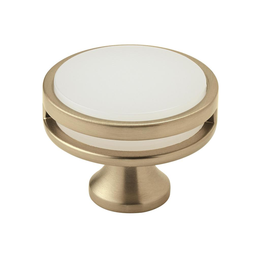 Oberon 1-3/4 in. (44 mm) Dia Golden Champagne/Frosted Acrylic Round Cabinet
