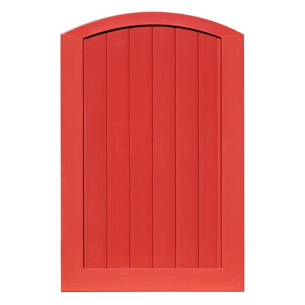 Veranda Pro Series 4 ft. W x 6 ft. H Barn Red Vinyl Anaheim Privacy Arched Top Fence Gate