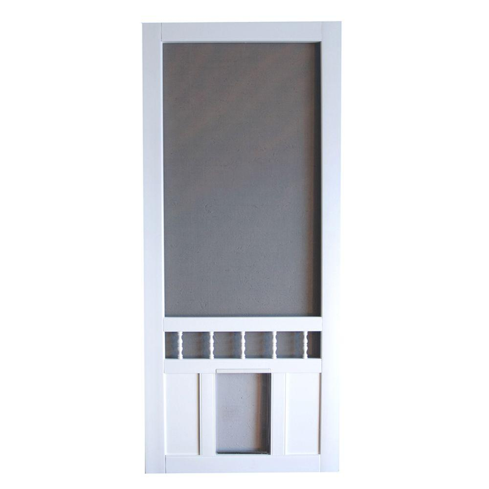 Screen Tight Southport 36 in. Vinyl White Pet Screen Door-DISCONTINUED