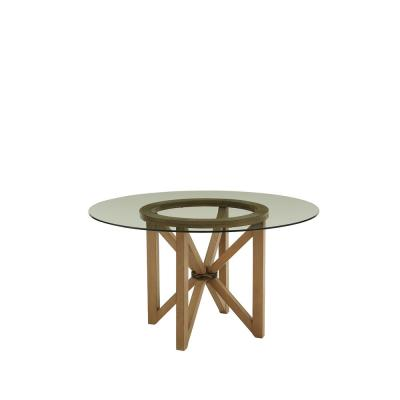 Serenity Caramel Mist Glass Top Dining Table