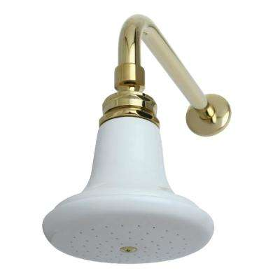 English Classic 1-Spray 5 in. Showerhead with Shower Arm in Polished Brass
