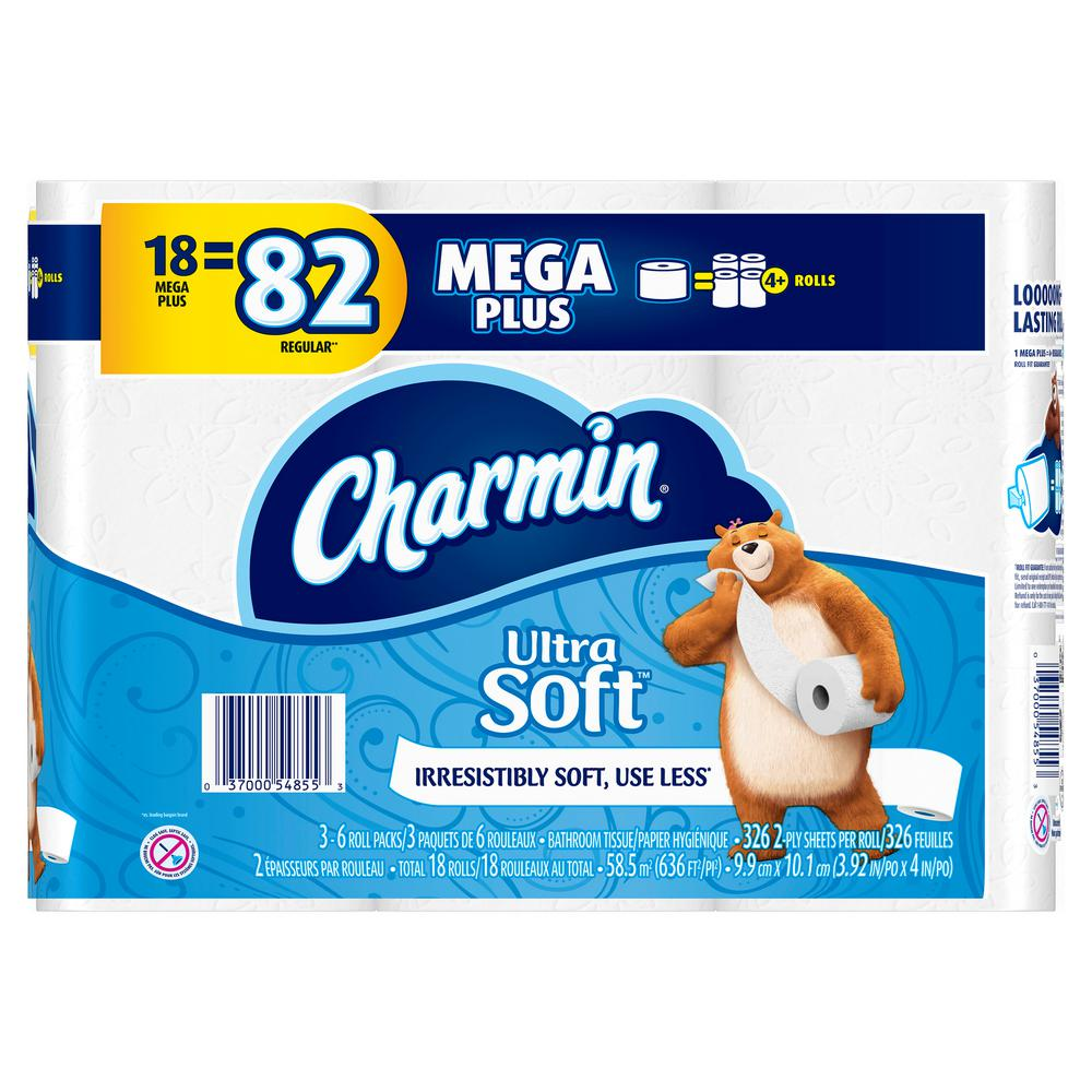 Charmin Ultra Soft Toilet Paper 18 Mega Plus Rolls 003700054855