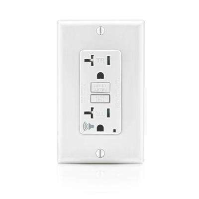 20 Amp SmartlockPro Self-Test Slim GFCI Outlet with Audible Trip Alert, White