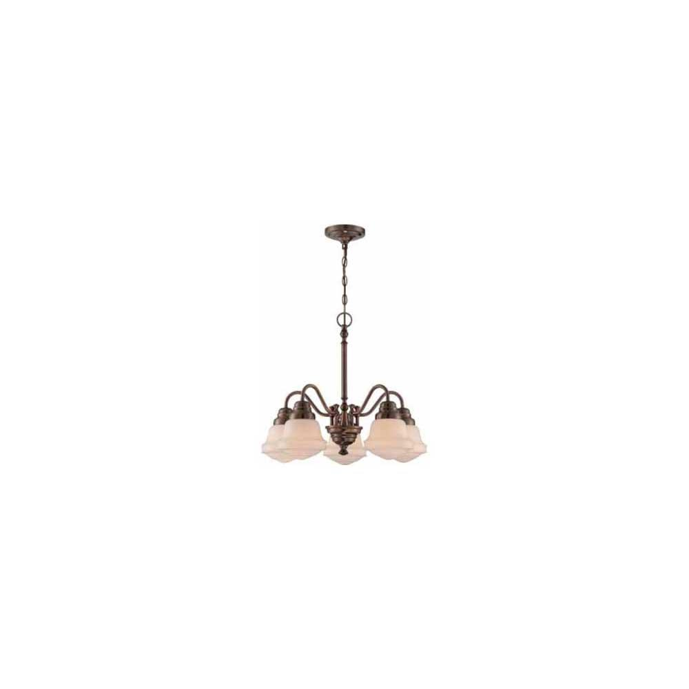 5-Light Antique Copper Chandelier with Frosted Amber Glass Shade