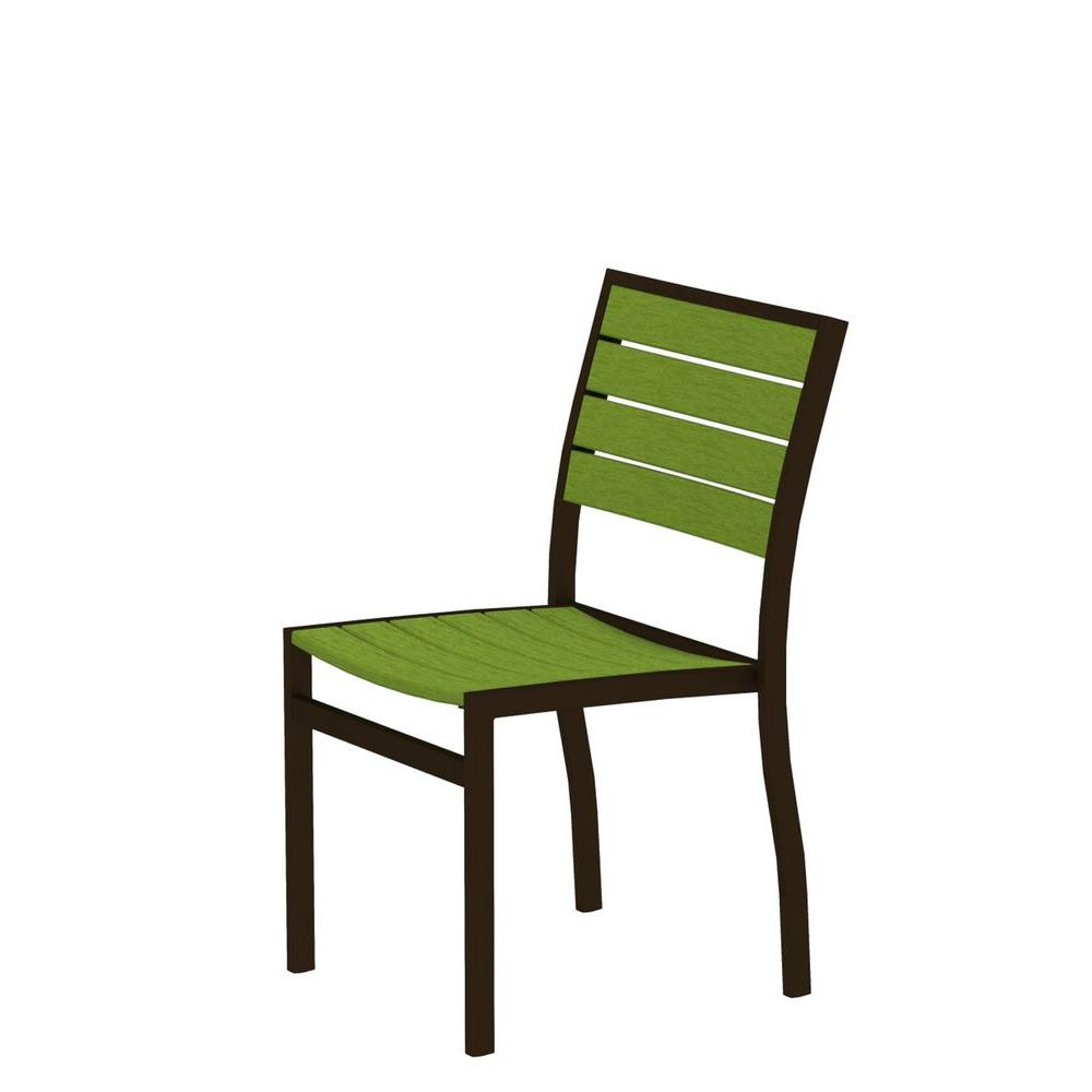 Euro Textured Bronze Patio Dining Side Chair with Lime Slats