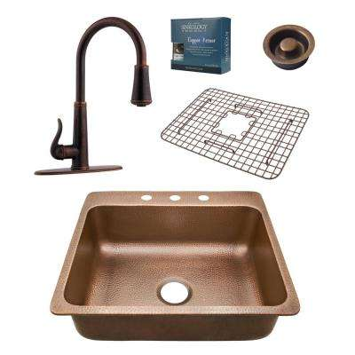 Pfister All-in-One Rosa 25 in. Drop-in 3-Hole Copper Sink Combo with Ashfield Rustic Bronze and Disposal Drain