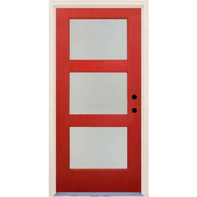 36 in x 80 in Elite Engine LH 3 Lite Satin Etch Glass Contemporary Painted Fiberglass Prehung Front Door w/ Brickmould