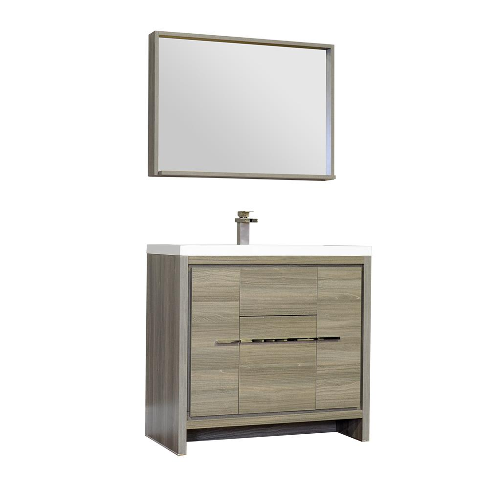The Modern 35.75 in. W x 18.75 in. D Bath Vanity in Gray with Acrylic Vanity Top in White with White Basin and Mirror