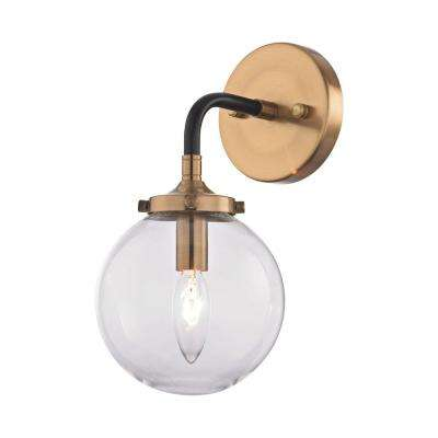 1-Light Matte Black and Antique Gold Wall Sconce