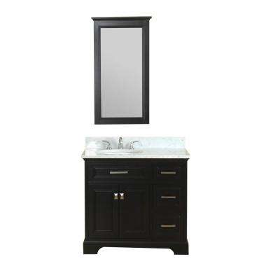 Yorkshire 37 in. W x 22 in. D Vanity in Espresso with Marble Vanity Top in White with White Basin and Mirror