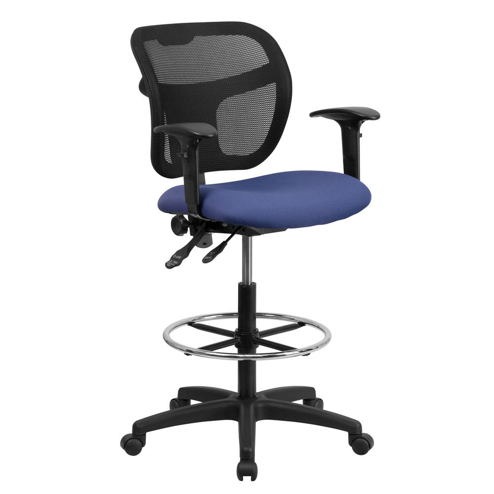 Charmant Flash Furniture Mid Back Mesh Drafting Chair With Navy Blue Fabric Seat And  Height Adjustable
