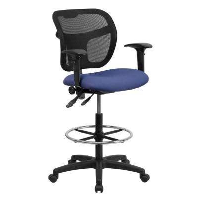Mid-Back Mesh Drafting Chair with Navy Blue Fabric Seat and Height Adjustable Arms