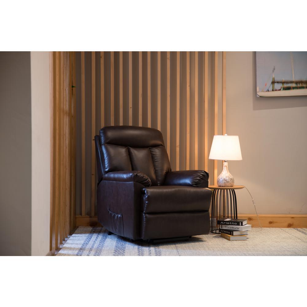 Merax Brown PU Leather Recliner Power Lift Chair