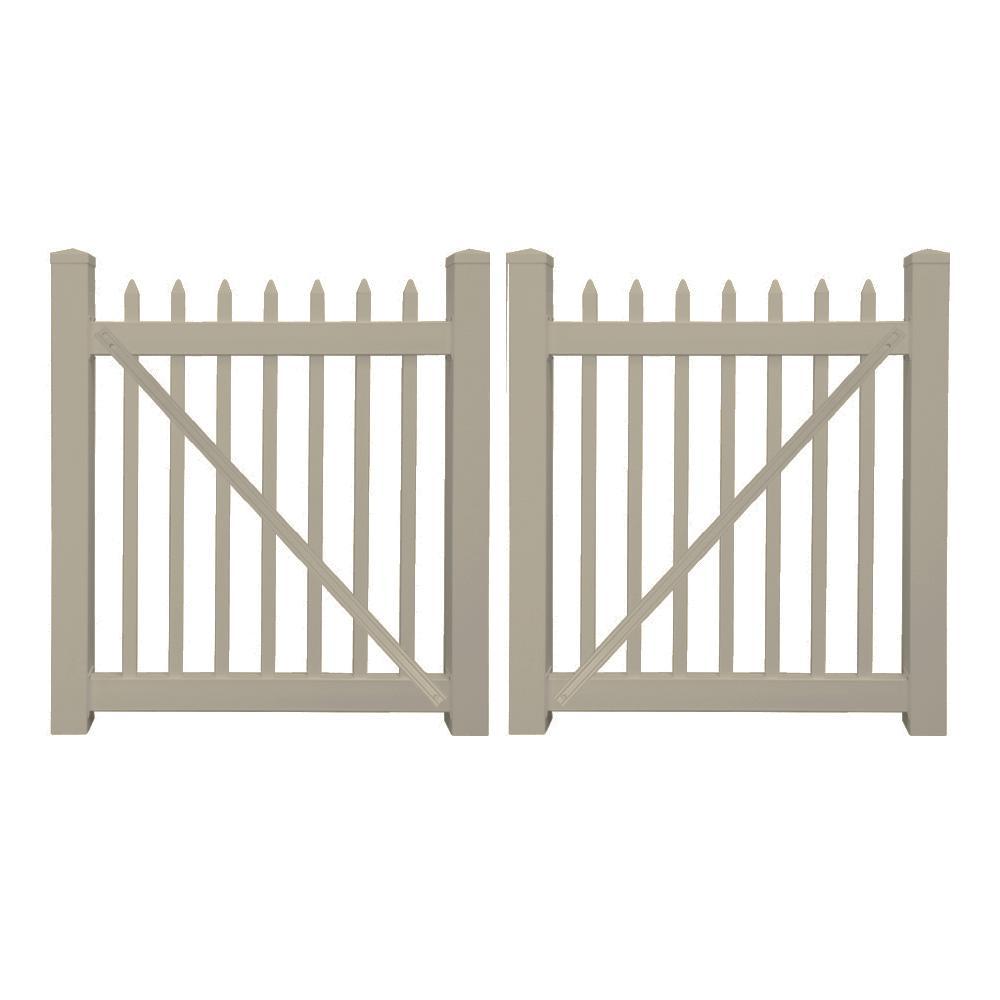 Abbington 8 ft. W x 3 ft. H Khaki Vinyl Picket Fence Double Gate Kit