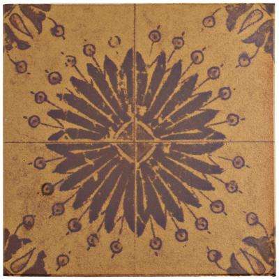 Klinker Retro Rojo Aster Encaustic 12-3/4 in. x 12-3/4 in. Ceramic Floor and Wall Quarry Tile