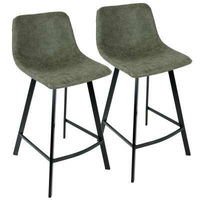 Outlaw Industrial Green Counter Stool Faux Suede (Set of 2)
