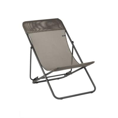 Maxi Transat Graphite Steel Folding French Style Lawn Chair (2-Pack)