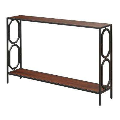 Omega Cherry and Black Metal Console Table