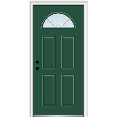 32 in. x 80 in. Grilles Between Glass Right-Hand Inswing 1/4-Lite Clear 4-Panel Classic Painted Steel Prehung Front Door