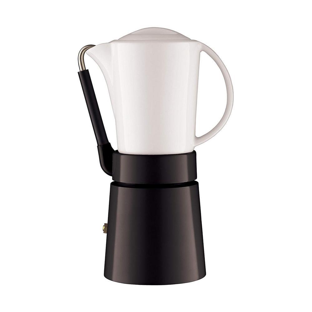 4-Cup Cafe in Black Porcellana Espresso Maker