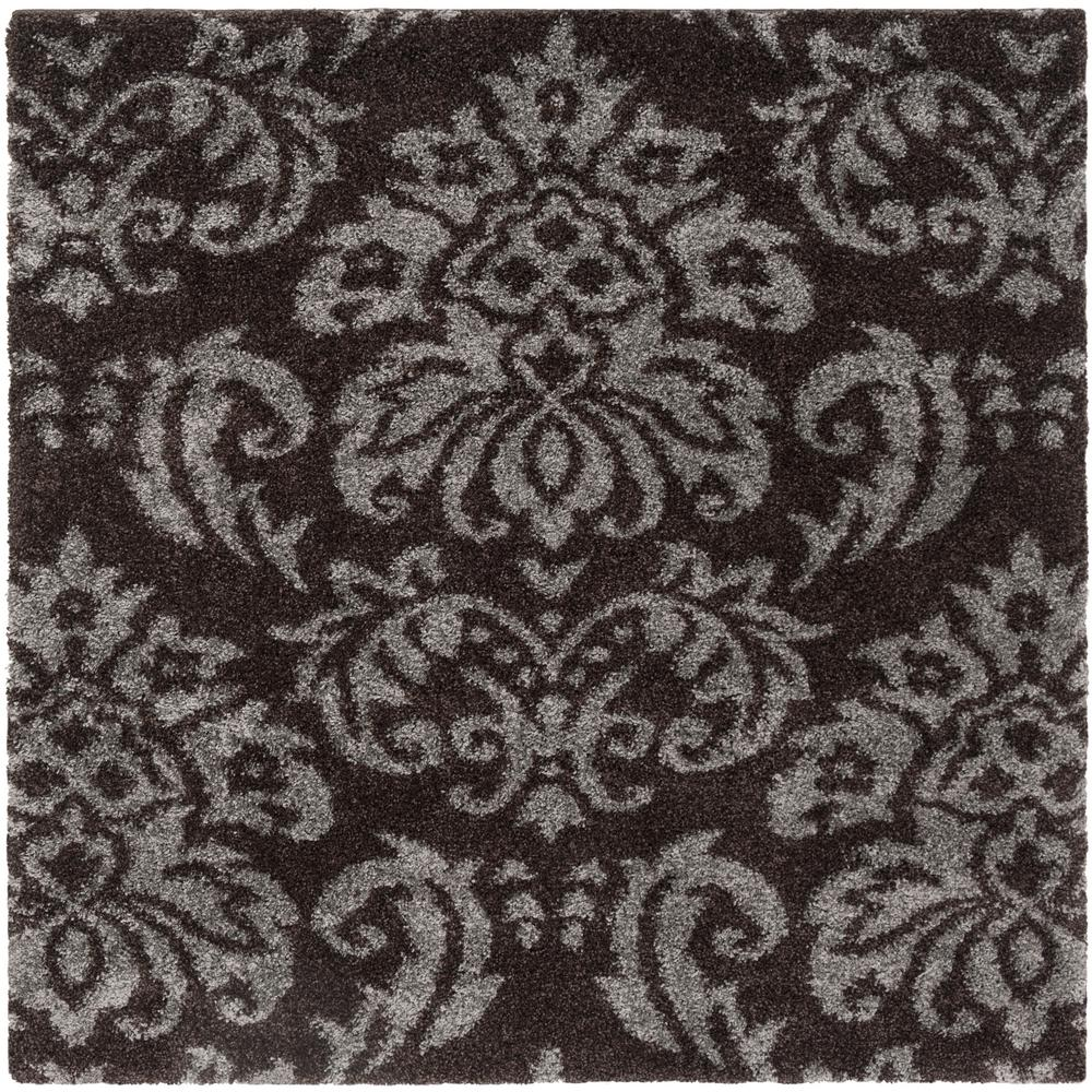 Safavieh Florida Shag Dark Brown Smoke 5 Ft X Square Area Rug