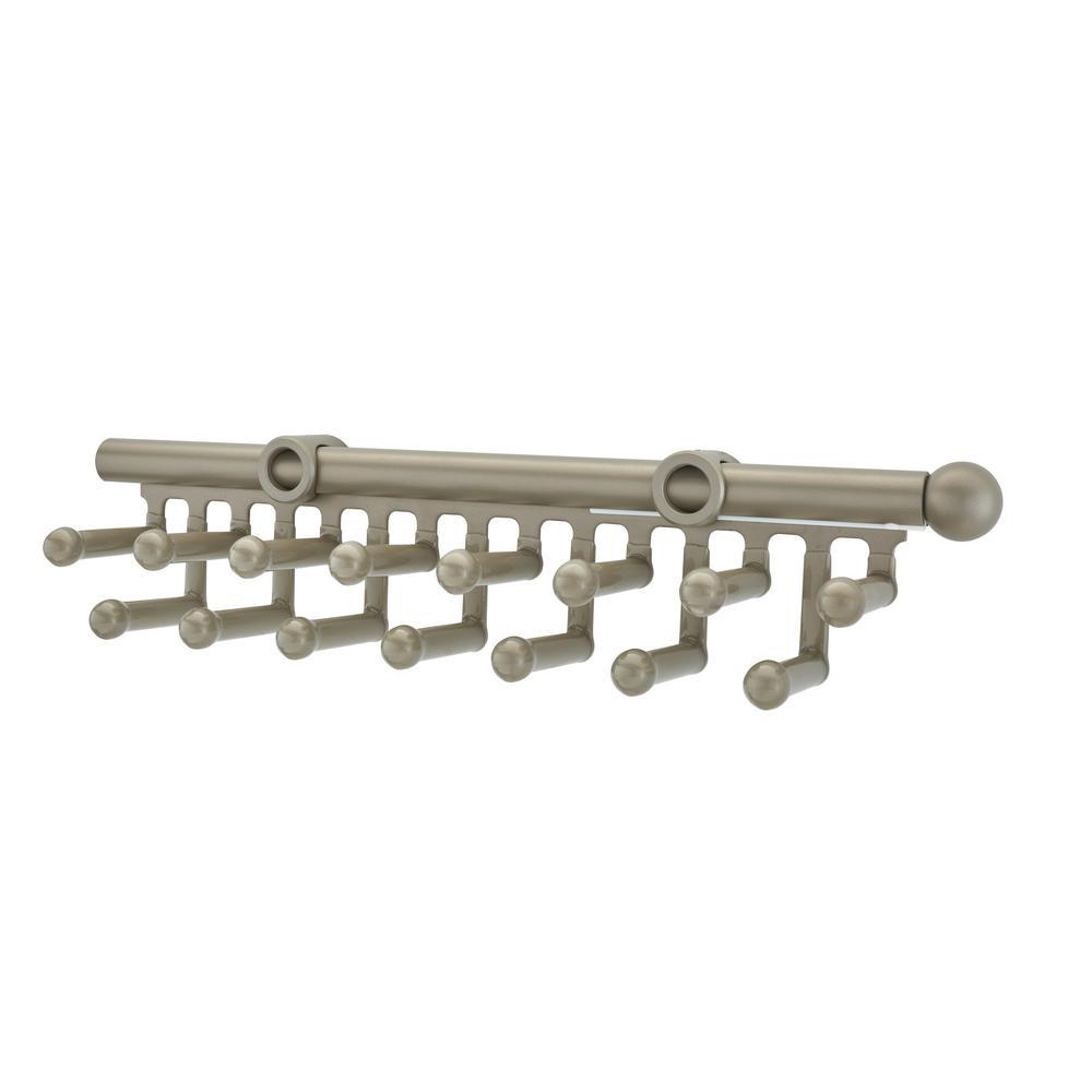Rev-A-Shelf 2.5 in. H x 2 in. W x 14 in. D Satin Nickel Pull-Out 15-Hook Tie/Scarf Rack