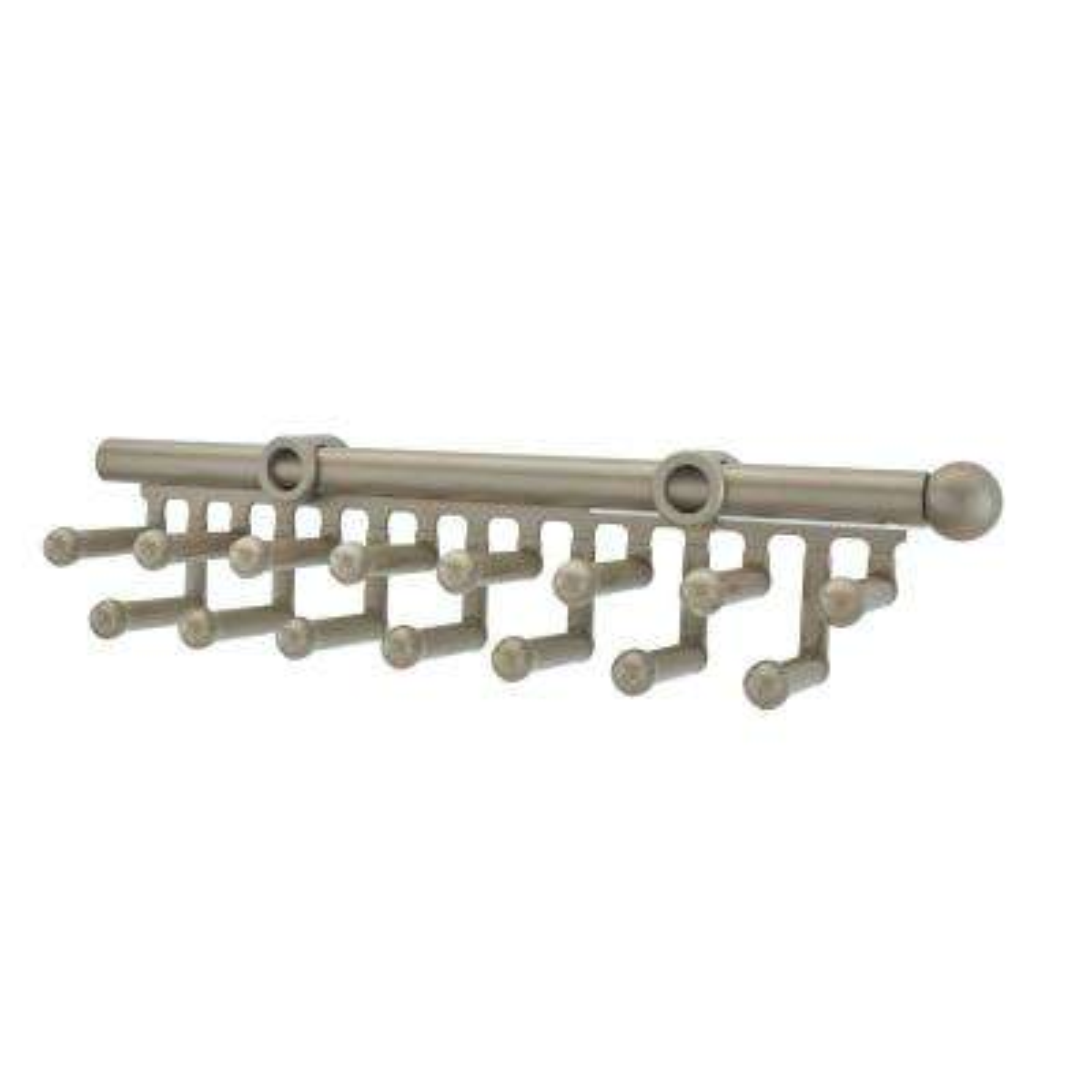 2.5 in. H x 2 in. W x 14 in. D Satin Nickel Pull-Out 15-Hook Tie/Scarf Rack