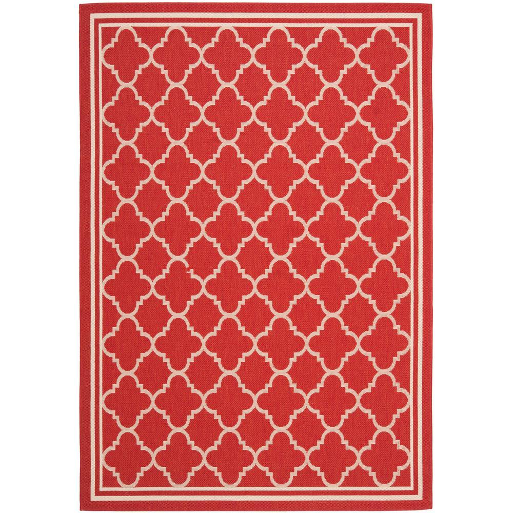 Courtyard Red/Bone 4 ft. x 5 ft. 7 in. Indoor/Outdoor Area
