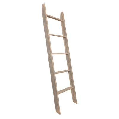72 in. Worn Gray Wood 5-shelf Ladder Bookcase with Open Back