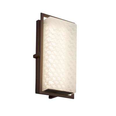 Fusion Avalon Small Dark Bronze LED Outdoor Wall Sconce with Weave Shade
