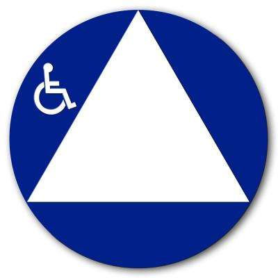 12 in. Round All Gender Restroom Sign With Raised Handicap Logo White Triangle on Blue Circle