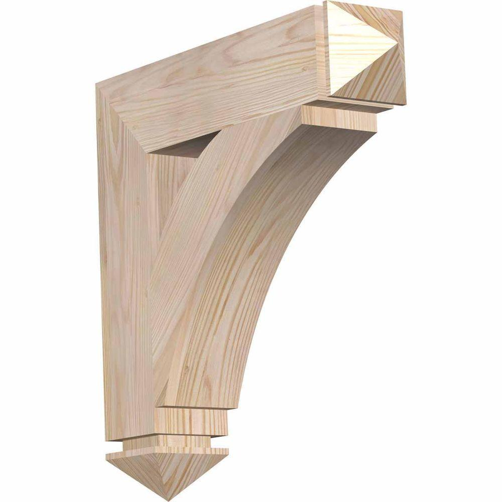 Ekena Millwork 3.5 in. x 18 in. x 18 in. Douglas Fir Thorton Arts and Crafts Smooth Bracket