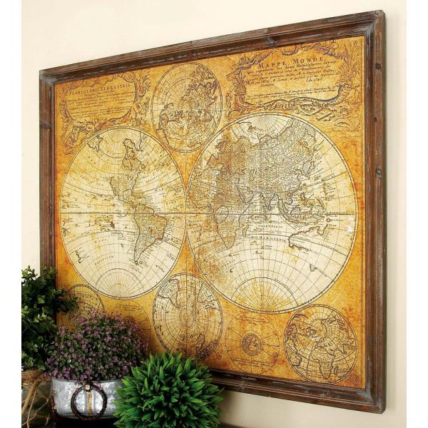 Litton Lane 34 in. x 41 in. MDF Antique World Map Wall Decor