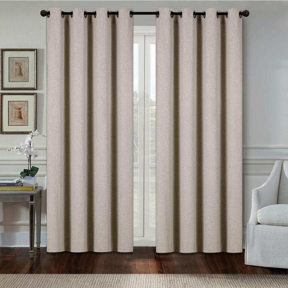Aspen 84 in. Taupe Polyester Heavy Blackout Extra Wide Grommet Window