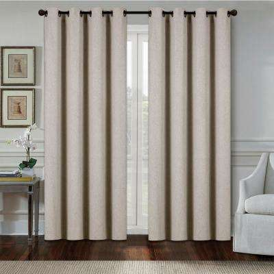 Aspen 84 in. Taupe Polyester Heavy Blackout Extra Wide Grommet Window Curtain Panel (2-pack)